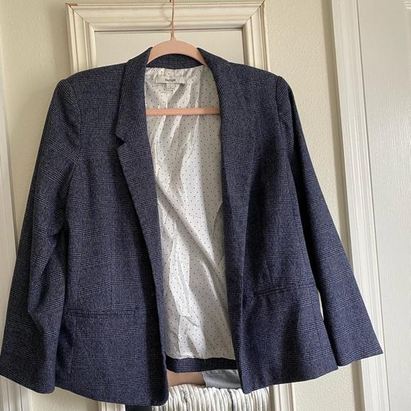 Navy blue checkered blazer